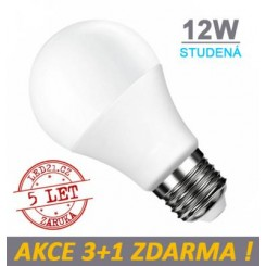 LED žárovka E27 12W 18xSMD2835 1055lm CCD STUDENÁ, 3+1 Zdarma