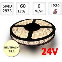 LED pásek 24V 60ks 2835 6W/m NEUTRÁLNÍ BÍLÁ