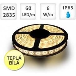 LED pásek 60ks 2835 6W/m TEPLÁ, voděodolný, cena za 1m