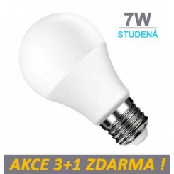 LED žárovka 7W 560lm E27 STUDENÁ, 3+1 ZDARMA