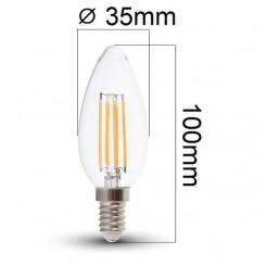 Retro LED žárovka E14 4W 400lm denní, filament, ekvivalent 40W