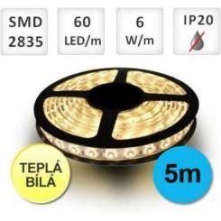 LED PÁSEK 5M 60KS 2835 6W/M TEPLÁ + zdroj 38W