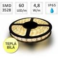LED PÁSEK 60X3528 4.8W/M, TEPLÁ BÍLÁ, VODĚODOLNÝ, CENA ZA 1METR